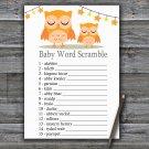 Orange Owl Baby Word Scramble Game,Orange Owl Baby shower games,INSTANT DOWNLOAD--366