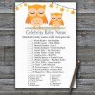 Orange Owl Celebrity Baby Name Game,Orange Owl Baby shower games,INSTANT DOWNLOAD--366