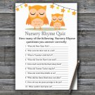Orange Owl Nursery Rhyme Quiz Game,Orange Owl Baby shower games,INSTANT DOWNLOAD--366