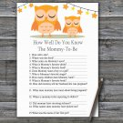 Orange Owl How Well Do You Know Game,Orange Owl Baby shower games,INSTANT DOWNLOAD--366