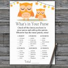 Orange Owl What's In Your Purse Game,Orange Owl Baby shower games,INSTANT DOWNLOAD--366