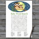Cute Owl Baby Shower Word Search Game,Cute Owl Baby shower games,INSTANT DOWNLOAD--365