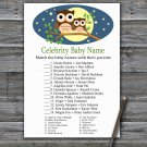 Cute Owl Celebrity Baby Name Game,Cute Owl Baby shower games,INSTANT DOWNLOAD--365