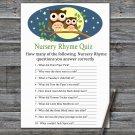 Cute Owl Nursery Rhyme Quiz Game,Cute Owl Baby shower games,INSTANT DOWNLOAD--365