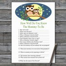 Cute Owl How Well Do You Know Game,Cute Owl Baby shower games,INSTANT DOWNLOAD--365