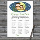 Cute Owl What's In Your Purse Game,Cute Owl Baby shower games,INSTANT DOWNLOAD--365