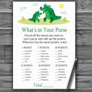 Cute Alligator What's In Your Purse Game,Cute Alligator Baby shower games,INSTANT DOWNLOAD--345