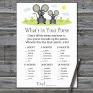 Mouse What's In Your Purse Game,Mouse Baby shower games,INSTANT DOWNLOAD--344