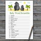 Gorilla Baby Word Scramble Game,Gorilla Baby shower games,INSTANT DOWNLOAD--343