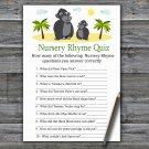 Gorilla Nursery Rhyme Quiz Game,Gorilla Baby shower games,INSTANT DOWNLOAD--343