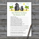 Gorilla How Well Do You Know Game,Gorilla Baby shower games,INSTANT DOWNLOAD--343