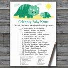 Dinosaur Celebrity Baby Name Game,Dinosaur Baby shower games,INSTANT DOWNLOAD--342