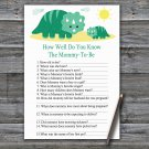 Dinosaur How Well Do You Know Game,Dinosaur Baby shower games,INSTANT DOWNLOAD--342