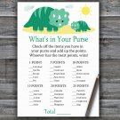Dinosaur What's In Your Purse Game,Dinosaur Baby shower games,INSTANT DOWNLOAD--342