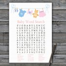 Clothesline Baby Shower Word Search Game,Clothesline Baby shower games,INSTANT DOWNLOAD--341