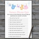 Clothesline Nursery Rhyme Quiz Game,Clothesline Baby shower games,INSTANT DOWNLOAD--341