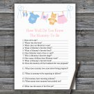 Clothesline How Well Do You Know Game,Clothesline Baby shower games,INSTANT DOWNLOAD--341
