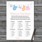 Clothesline What's In Your Purse Game,Clothesline Baby shower games,INSTANT DOWNLOAD--341