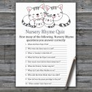 Kittens Nursery Rhyme Quiz Game,Kittens Baby shower games,INSTANT DOWNLOAD--340