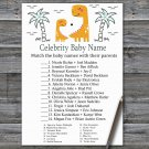 Orange Dinosaur Celebrity Baby Name Game,Dinosaur Baby shower games,INSTANT DOWNLOAD--332