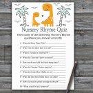 Orange Dinosaur Nursery Rhyme Quiz Game,Dinosaur Baby shower games,INSTANT DOWNLOAD--332