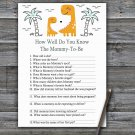 Orange Dinosaur How Well Do You Know Game,Dinosaur Baby shower games,INSTANT DOWNLOAD--332