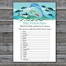 Under the sea Baby Animals Name Game,Dolphin Baby shower games,INSTANT DOWNLOAD--331