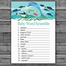 Under the sea Baby Word Scramble Game,Dolphin Baby shower games,INSTANT DOWNLOAD--331