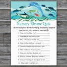 Under the sea Nursery Rhyme Quiz Game,Dolphin Baby shower games,INSTANT DOWNLOAD--331