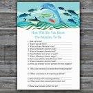 Under the sea How Well Do You Know Game,Dolphin Baby shower games,INSTANT DOWNLOAD--331