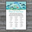 Under the sea What's In Your Purse Game,Dolphin Baby shower games,INSTANT DOWNLOAD--331