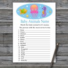 Jellyfish Baby Animals Name Game,Jellyfish Baby shower games,INSTANT DOWNLOAD--330