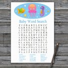 Jellyfish Baby Shower Word Search Game,Jellyfish Baby shower games,INSTANT DOWNLOAD--330