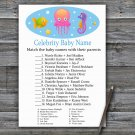 Jellyfish Celebrity Baby Name Game,Jellyfish Baby shower games,INSTANT DOWNLOAD--330