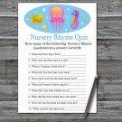 Jellyfish Nursery Rhyme Quiz Game,Jellyfish Baby shower games,INSTANT DOWNLOAD--330