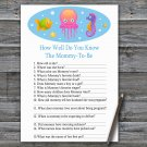 Jellyfish How Well Do You Know Game,Jellyfish Baby shower games,INSTANT DOWNLOAD--330