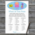 Jellyfish What's In Your Purse Game,Jellyfish Baby shower games,INSTANT DOWNLOAD--330
