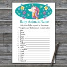 Unicorn Baby Animals Name Game,Unicorn Baby shower games,INSTANT DOWNLOAD--329