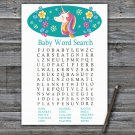 Unicorn Baby Shower Word Search Game,Unicorn Baby shower games,INSTANT DOWNLOAD--329