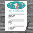 Unicorn Baby Word Scramble Game,Unicorn Baby shower games,INSTANT DOWNLOAD--329