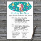 Unicorn Celebrity Baby Name Game,Unicorn Baby shower games,INSTANT DOWNLOAD--329