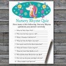 Unicorn Nursery Rhyme Quiz Game,Unicorn Baby shower games,INSTANT DOWNLOAD--329