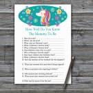 Unicorn How Well Do You Know Game,Unicorn Baby shower games,INSTANT DOWNLOAD--329