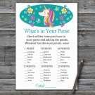 Unicorn What's In Your Purse Game,Unicorn Baby shower games,INSTANT DOWNLOAD--329
