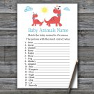 Red Dinosaur Baby Animals Name Game,Red Dinosaur Baby shower games,INSTANT DOWNLOAD--328
