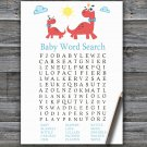 Red Dinosaur Baby Shower Word Search Game,Red Dinosaur Baby shower games,INSTANT DOWNLOAD--328