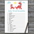 Red Dinosaur Baby Word Scramble Game,Red Dinosaur Baby shower games,INSTANT DOWNLOAD--328