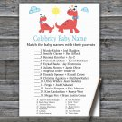 Red Dinosaur Celebrity Baby Name Game,Red Dinosaur Baby shower games,INSTANT DOWNLOAD--328