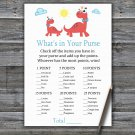 Red Dinosaur What's In Your Purse Game,Red Dinosaur Baby shower games,INSTANT DOWNLOAD--328