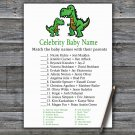 Dinosaur Celebrity Baby Name Game,T-rex Baby shower games,INSTANT DOWNLOAD--327